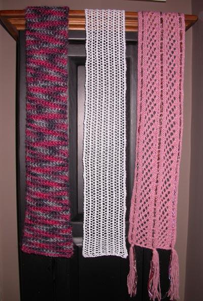 A trio of Christmas scarves